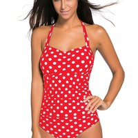 Vintage Inspired 1950s Style Red Polka Dot Teddy Swimsuit