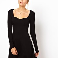 ASOS Sweetheart Neck Skater With Long Sleeves