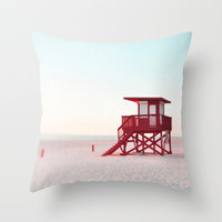 Red Lifeguard Tower - Throw Pillow Cover, Pastel Pink & Blue Decor, Beach Surf Boho Style Furnishing Accent in 14x14 16x16 18x18 20x20 26x26
