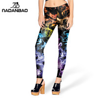 New Arrival Colored smoke leggins style Printed leggins Women leggings KDK1459