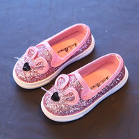 2016 Spring Fashion Baby Kids Sequins Cartoon Mouse Casual Shoes For Girls and Boys 3 Colors Chlidren Footwear size 21-30 Flats