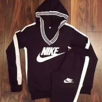 NIKE Trending Women Leisure Print V-Neck Sweater Pants Sweatpants Set Two-Piece Sportswear Hoodie Black I