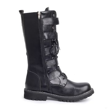 Men High Military Combat Boots Metal Buckle Punk Mid Calf Male Motorcycle Boots