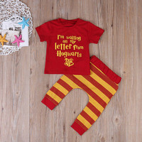 US STOCK 2pcs Baby Set Toddler Infant Baby Boy Girl Clothes Summer Red Short Sleeve Harry Potter T-shirt +Striped Pant Hot