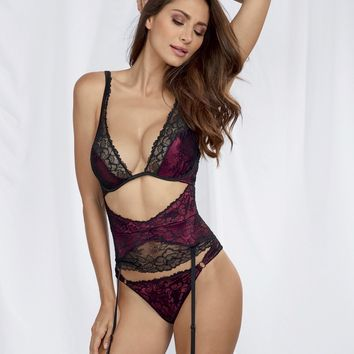 Satin And Lace Overlay Teddy