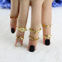 Retro Gold Finger Rings For Women 7pc Crown Bowknot Knuckle Ring Set SM6
