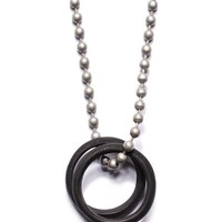 Black Glass Two Rings Necklace for Men