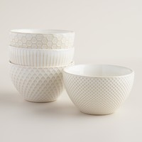 White Textured Bowls, Set of 4