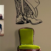 Cowboy Boots and Hat Decal Sticker Wall Vinyl Art