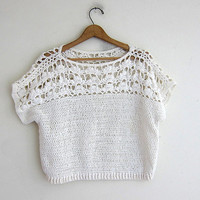 Vintage Natural White Sweater. Crochet Sweater. Open Knit Sweater. Loose Knit Sweater. cropped sweater top