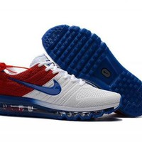 PEAPON3V Nike Air Max 2017 Kpu. White, Blue & Red. Men's Running Shoes Trainers