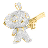 Baby Cartoon Character Pendant Lab Diamond With Gun In 14K Gold Finish