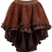 Atomic Brown Satin Tiered Lace Skirt