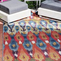 7138 Blue Abstract Outdoor Contemporary Area Rugs