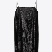 SAINT LAURENT SPAGHETTI STRAP LINGERIE MINI DRESS IN BLACK TULLE AND SEQUINS | YSL.COM