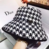 Dior New fashion women sunscreen fisherman's hat cap hat Black