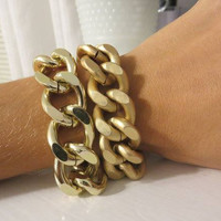 Chunky Chain Layering Bracelet - Matte Gold or Shiny Gold