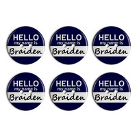 Braiden Hello My Name Is Plastic Resin Button Set of 6