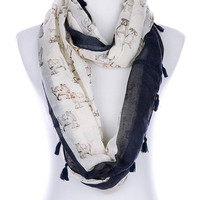 Ivory Puppy Print Infinity Scarf
