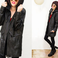 90s Black Soft Leather Oversized Hooded Slouch Jacket / Parka / coat / grungy 1990s /   Outerwear /
