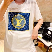 Louis Vuitton LV hot sale new men's and women's embroidered logo top T-shirt