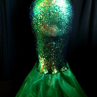 High Waisted Green Sequin Sexy Mermaid Skirt Costume