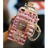 Dior Fashionable Women Luxury Crystal Perfume Bottles Mobile Phone Cover Case For iphone 6 6s 6plus 6s-plus 7 7plus 8 8plus X Pink