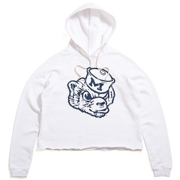 University of Michigan Outline Wolverine Head Women's Cropped Hoodie White