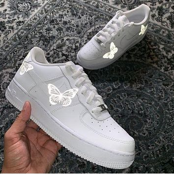Nike Air Force 1 Low Print Women And Men Casual Cushioning Shoes Silver Butterfly Reflective Luminous