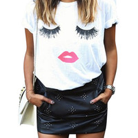 Eyelash Lip Printing Tee in White