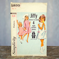 Vintage Girl's Dress & Coat Sewing Pattern 1960's Simplicity 5899, Size 10 Girls Party Dress Inverted Pleats and Bows Jiffy Coat