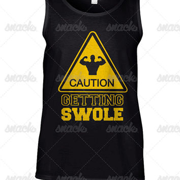 Caution Getting Swole Gym T-Shirt -  funny mens work out tank top, tee shirt, fitness gift, sports wear, graphic, exercise apparel, guns out