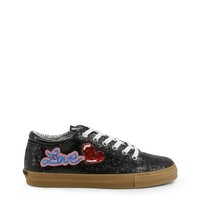 Love Moschino Black Glitter Metal Eyelets Fits Large Sneakers