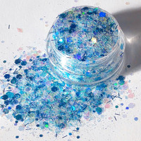 Mermaid Song - Blue Chunky, Cosmetic Body and Face Glitter For Festival & Creative Makeup, Slime and Crafts