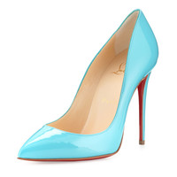 Christian Louboutin Pigalles Follies Patent Red Sole Pump, Turquoise LAVELIQ