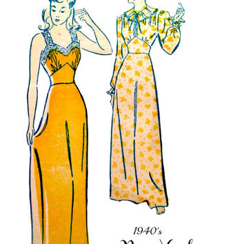 40s Vintage Nightgown Negligee Pattern Camisole Style or High Neck Lingerie by Louise Scott New York 568 Sewing Patterns Bust 36 Unprinted