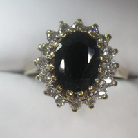 Sparkling 9ct Yellow Gold Sapphire and CZ Cocktail Ring