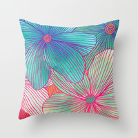 Between the Lines - tropical flowers in pink, orange, blue & mint Throw Pillow by Micklyn