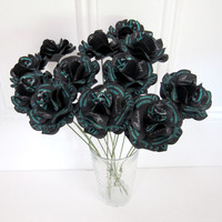 """40th Birthday   40 and Fabulous Personalized Paper Roses Black  Turquoise or Custom Colors for any Event with Stems 2.5"""" Diameter  Set of 12"""