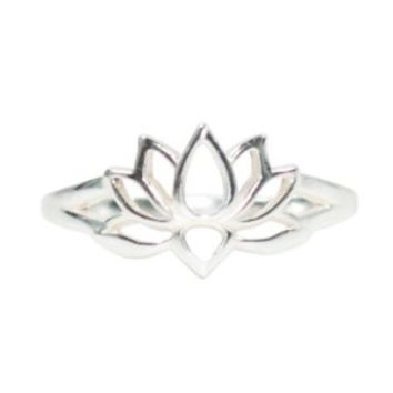 Open Design Lotus Blossom Flower Ring in Sterling Silver, Available in Sizes 5, 6, 7, 8, and 9, #7226