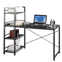 Techni Mobili Glass Desk with Built-in Shelves