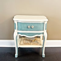 French Provincial Nightstand - Duck Egg Blue