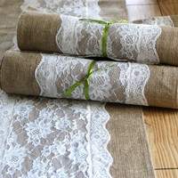 "Burlap and White Lace Runner 14"" wide 10 oz Natural Burlap Rustic Wedding"