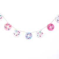Donut felt banner, dessert party banner, do-nut felt room banner, in pink, blue and white frosting with sprinkles