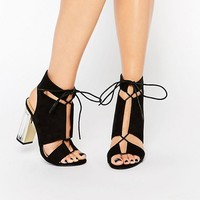 Truffle Collection Cut Out Lace Up Sandal With Clear Heel at asos.com