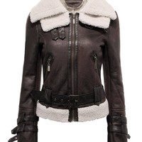 Black Shearling Biker Jacket