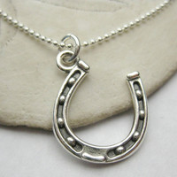 Horseshoe Charm Necklace - Sterling Silver Jewelry - Silver Horse Shoe Necklace