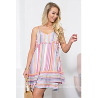 Carlee Tiered Ruffle Striped Dress
