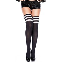 Black and White 3 Stripe Thigh High Socks