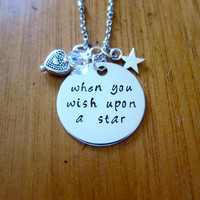 """Pinocchio Inspired Necklace. Jiminy Cricket """"When You Wish Upon A Star"""". Swarovski crystals, for women or girls. Hand stamped. Pinocchio"""